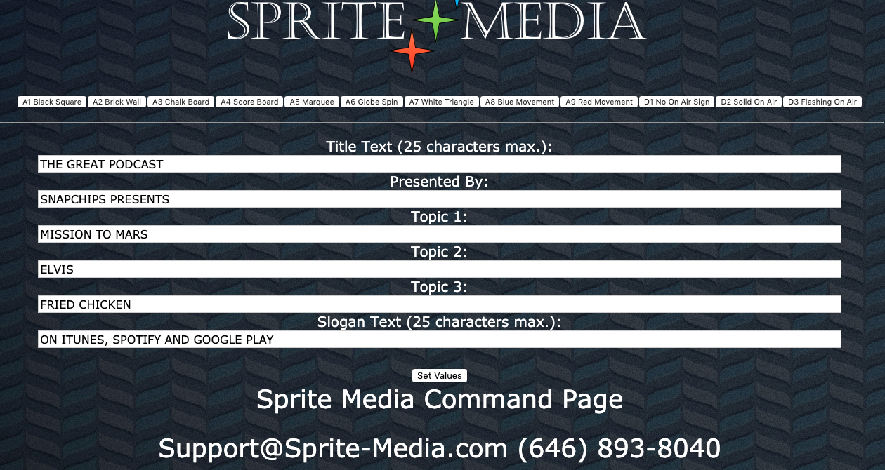 Sprite Podcaster Command Screen